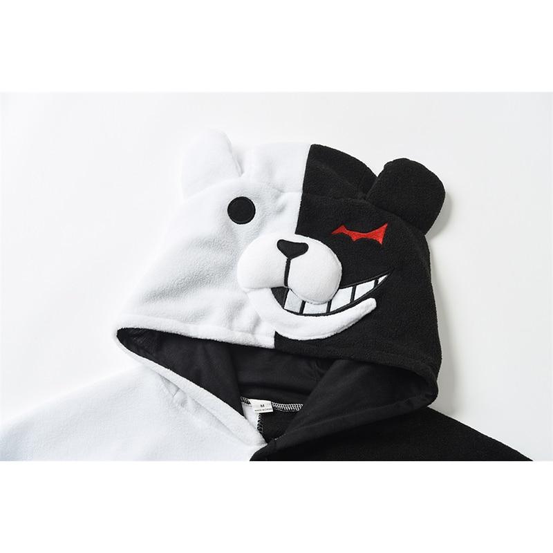 YESKIGU Monokuma Kigurumis Pajama Adult Onesie Anime Bear Jumpsuit Black White Animal Pajamas Women Halloween Party Suit Overall 3