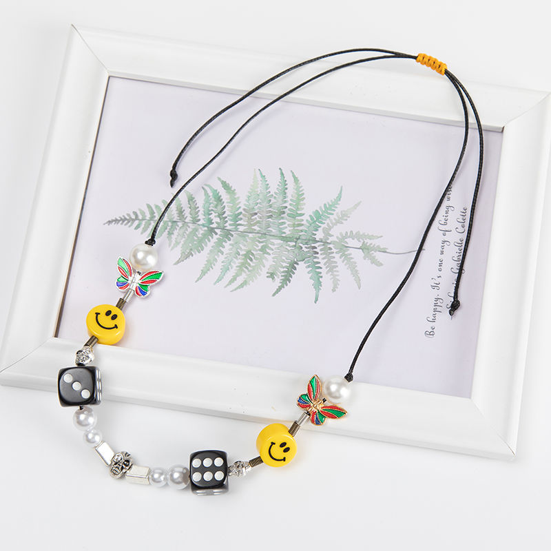 Kpop Fashion Rope Necklace for Men Dice Skull Pearl Yellow Smiley Face Multicolor Butterfly Necklace Hip Hop Bracelet 2020 New 2