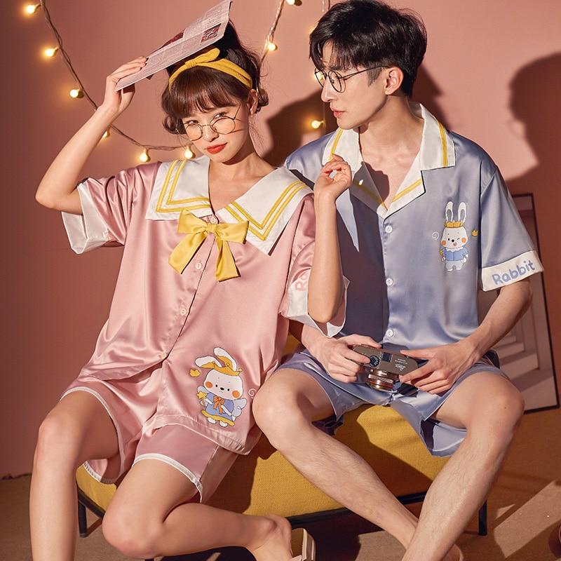 Summer Couples Pajamas Sets Women Men Sleepwear Pyjamas IceSilk Cute Rabbit Homewear Lovers SilkCloth Pijamas 2