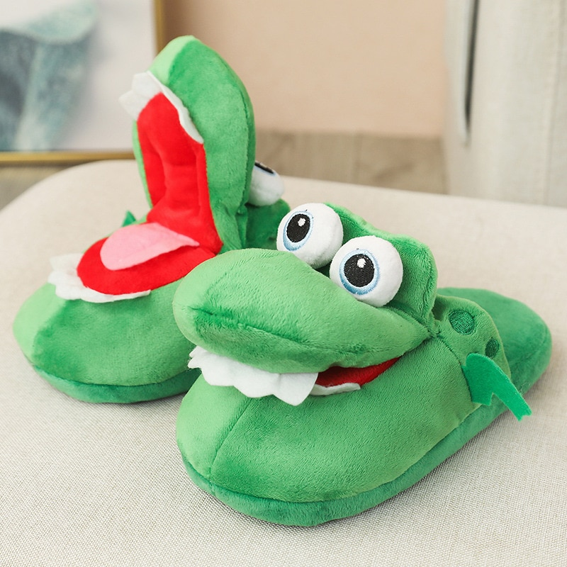 CartoonAnimal CottonSlippers Women Men Funny Crocodile Open Mouth Adult  Winter Cotton Shoes Plush Cute SlippersHousehold 1