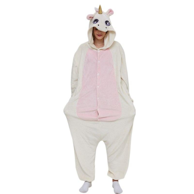 Golden Unicorn women pajama suit Adult Animal kigurumis Night Sleepwear winter Warm Homewear onepiece Party Cosplay Costume 3