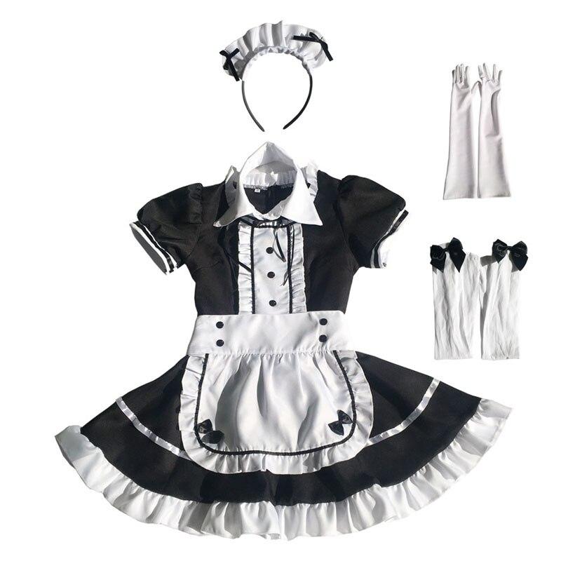 Maid Costume Japanese Anime Cosplay Sweet Classic Lolita Fancy Apron Maid Dress with Socks Gloves Set 5