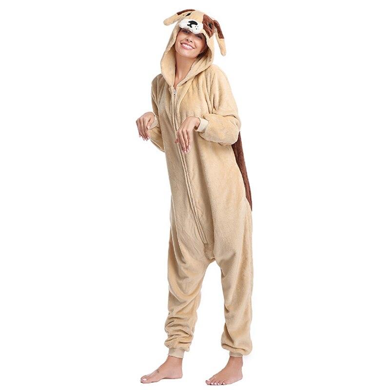 Animal pug Kigurumis Women Pajamas Onesies Flannel One Piece Homewear Clothing Sleepwear Pajama Party Costume 3