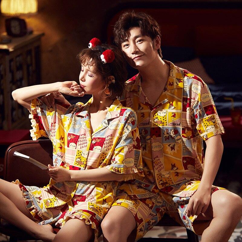 Couple Pijamas Mujer Korean  Cute Squirrel Short Sleeve Pyjamas Women Sleepwear Men Nightwear Lovers Pajamas Homewear XXXL 2