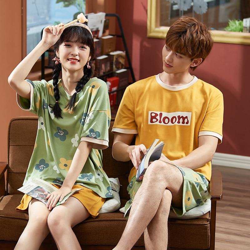 Summer Couples Pajamas Sleepwear Women Men Cotton Pyjamas Flower Printing Homewear Lovers Nightgowns Shorts Korean Pajama Sets 1