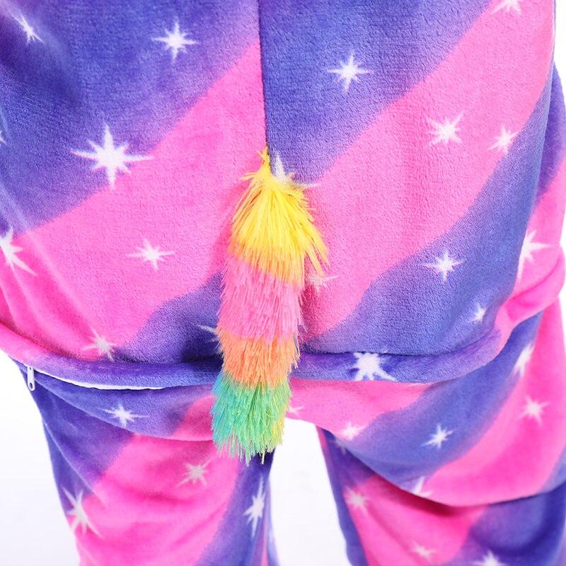 Kigurumis Animal Stars Diamond Pegasus Women Pajama Suit Onesie Homewear Sleepwear Flannel Adult One Piece Pijamas Party Costume 5