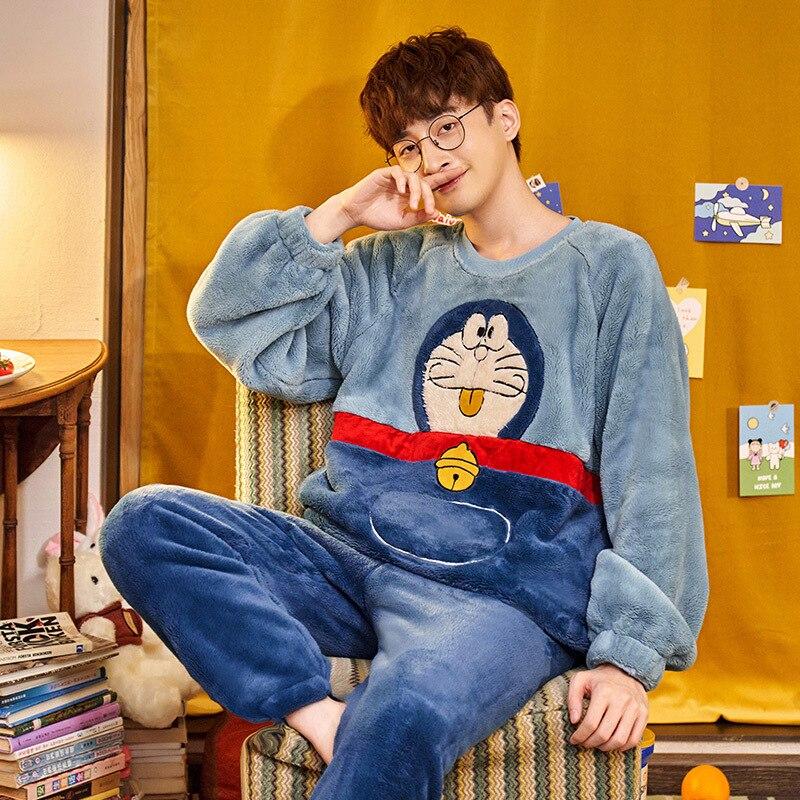 Couples pyjamas Set Cartoon Doraemon Cat Winter Thicken pyjamas women Sleepwear Homewear CoralFleece Lover pijamas Plus size 4