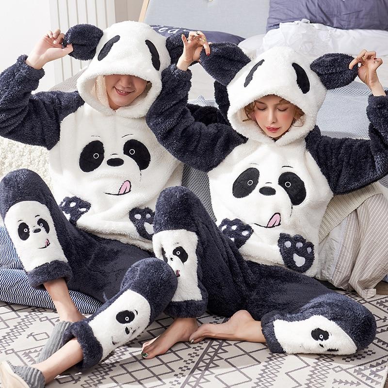 Couples Pajamas Sets Winter Thicken Pyjamas Women Men Sleepwear Cartoon Panda Korean Lovers Homewear SoftWarm Pijama Hoodies 1