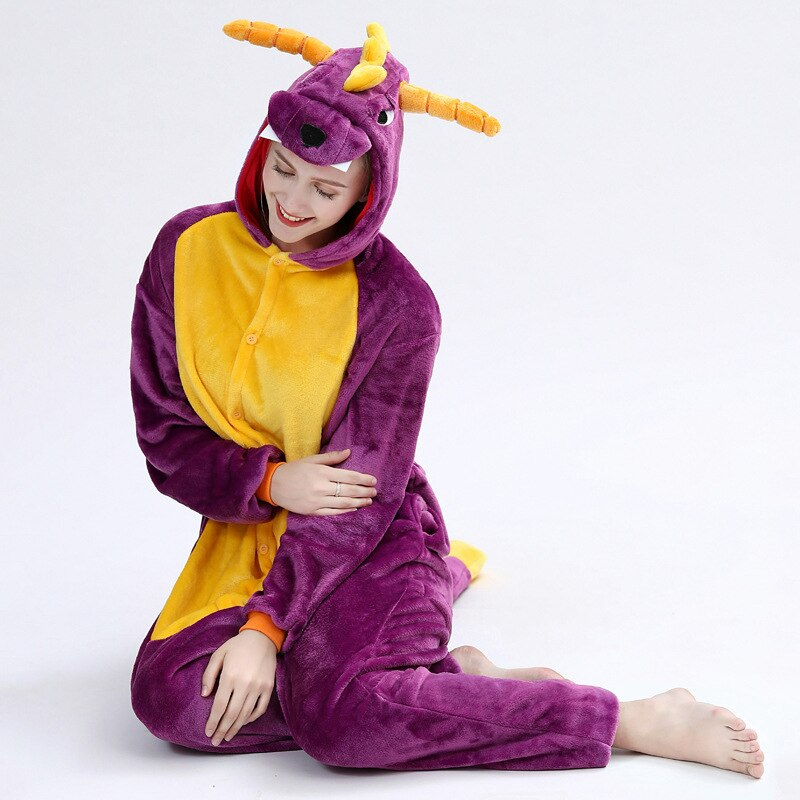 Spyro Dragon Onesie Anime Cartoon Kigurumis Purple Animal Pajama Women Men Adult Funny Suit Winter Warm Cute Sleepwear Jumpsuit 5