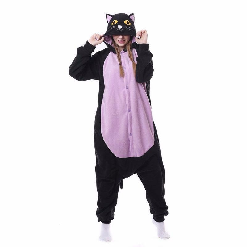 Black Purple Cat Kigurumis Halloween Pajama Adult Women Men Sleepwear Funny Outfit Animal Belly Cat Jumpsuit Onesie Cartoon Suit 1