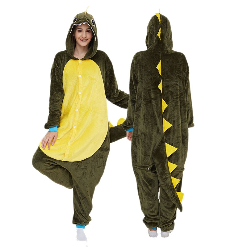 Green Dragon Kigurumis Women Pajama Onesie Animal Onepiece Men Adult Carnival Funny Sleepwear Cosplay Homewear Costume Apparel 1