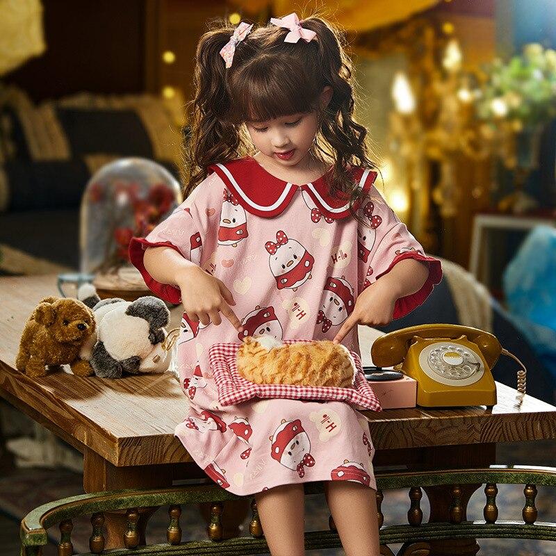 Summer Children Nightdress Sleepwear Soft LeisureWear Cartoon Cute Chick Printing Girls Nightgown Dressing Gown Dress Child 4
