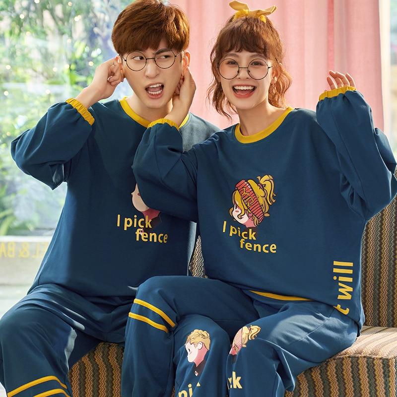Spring Couple Pajamas Set Cartoon Print Cute Sleepwear Long Sleeve Homewear Pyjamas Women Men Lovers Pajamas Nightgowns XXXL 2