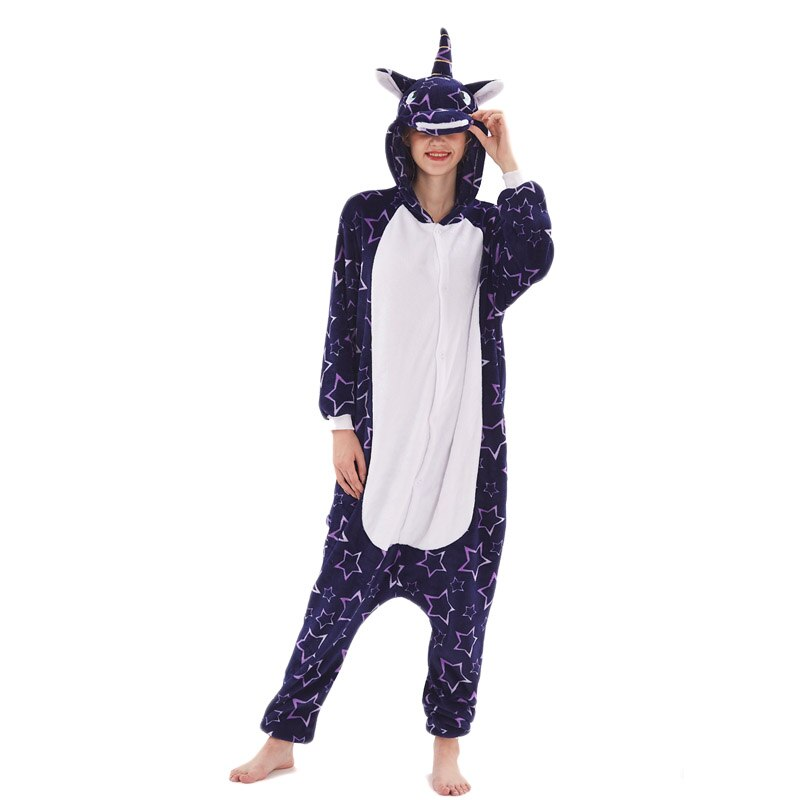 Unicorn Women Pajama Onesie kigurumis Galaxy Pegasus Unisex Adult Sleepwear Flannel Homewear Onepiece Pajama Suit Party Costume 4