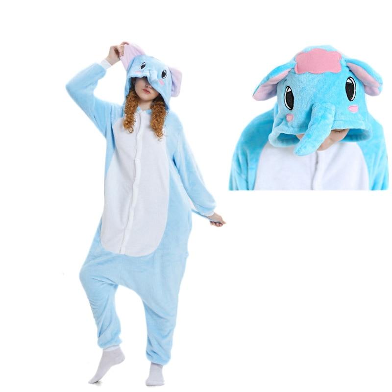 Kigurumis Women Pajama Adult Elephant Cute Unisex Sleepwear Flannel Onepiece Pajama Suit Carnival Funny Party Homewear Costume 1