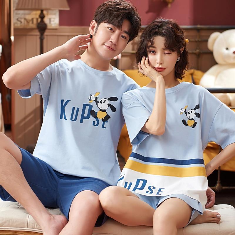 Cartoon Women Couples Pajamas Set Men Summer Pyjamas Short Sleeve Sleepwear Homewear Pijama Femme Nightgowns Nightwear XXXL 1