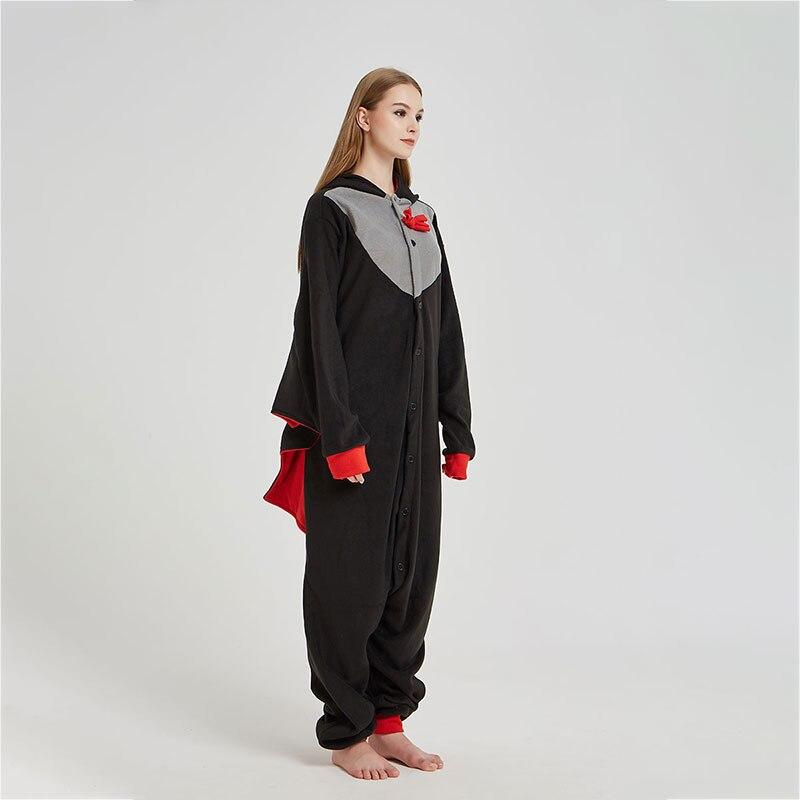 Black Bat Onesie Women Adult Animal Cartoon Kigurumis Polar Fleece Home Jumpsuit Funny Cute Overalls Girls Festival Pajama Suit 2