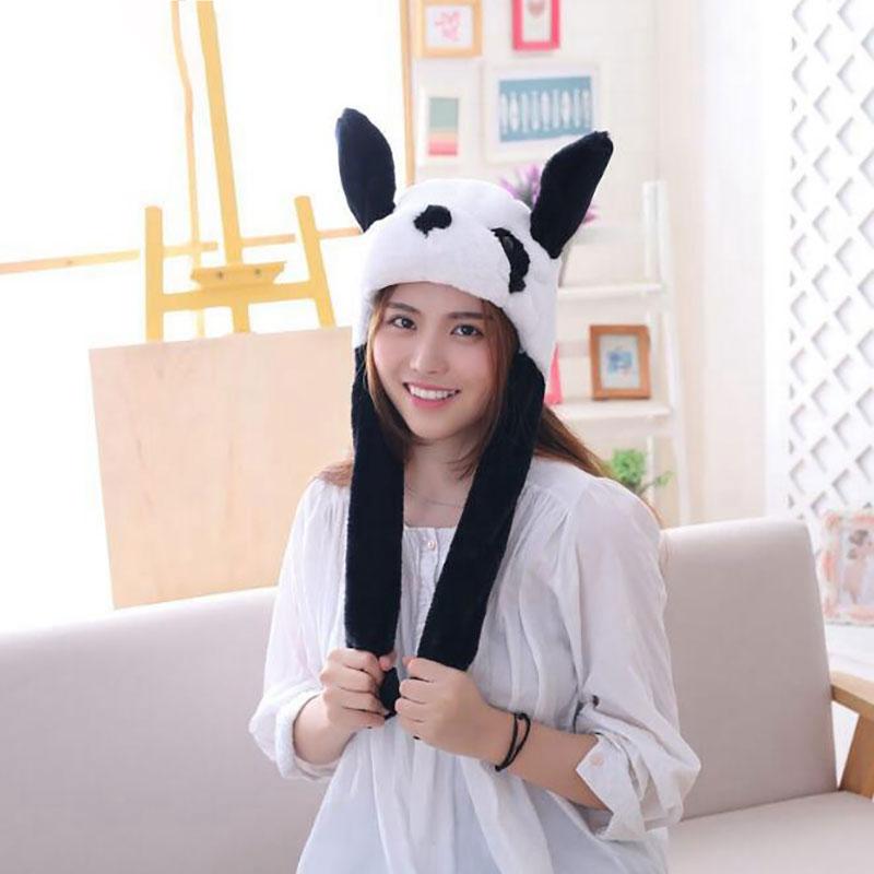 Panda Hat Ears Waggle Cute Funny Headgear Women Men Winter Warm Headwear Animal Cosplay Prop 1