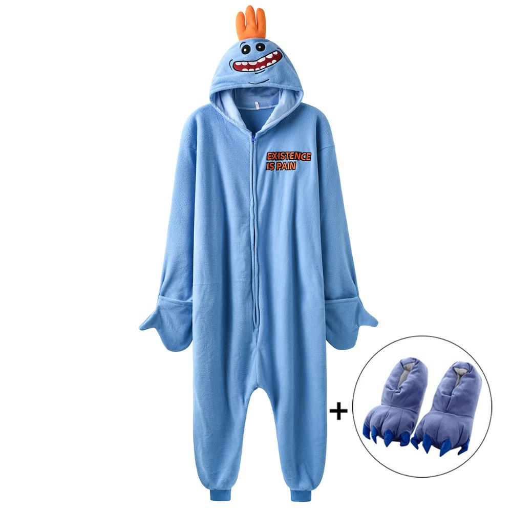 Women Onesie Funny Kigurumis Mr Meeseeks Cartoon Pajamas Polar Fleece Rick Morry Sleepwear Homewear Party Cosplay Costume 1