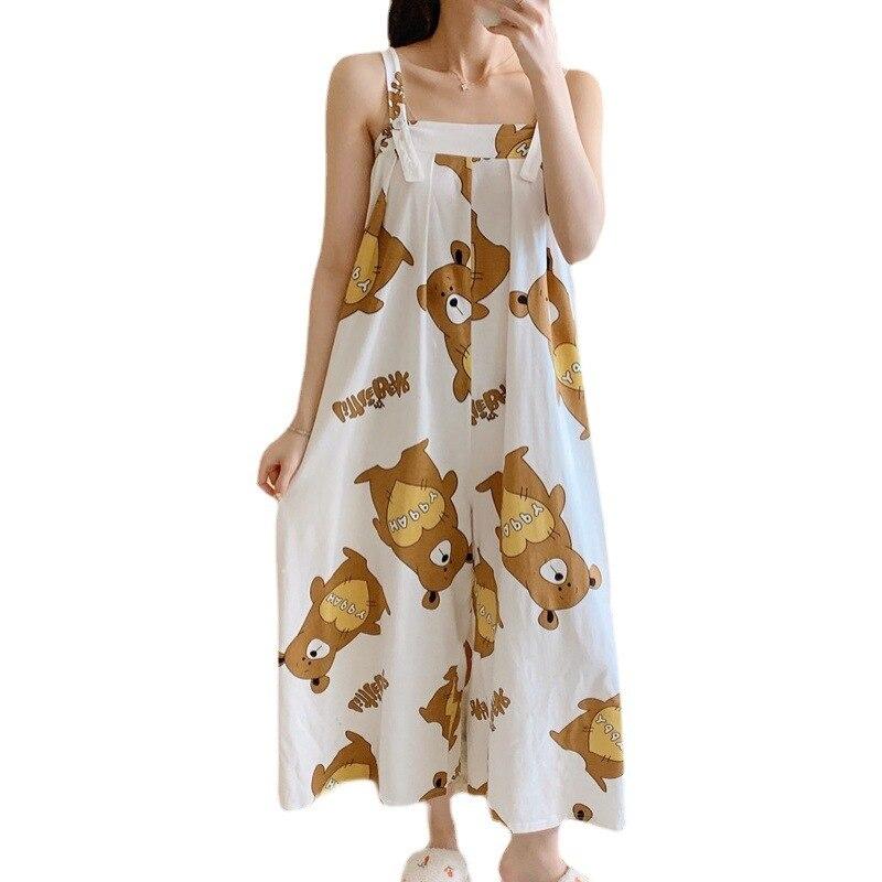 Summer Pajama Women jumpsuits One-piece Pyjamas Sleepwear Cartoon Cute Bear Printing Pajamas Girl CasualWear Home Korean Night 5