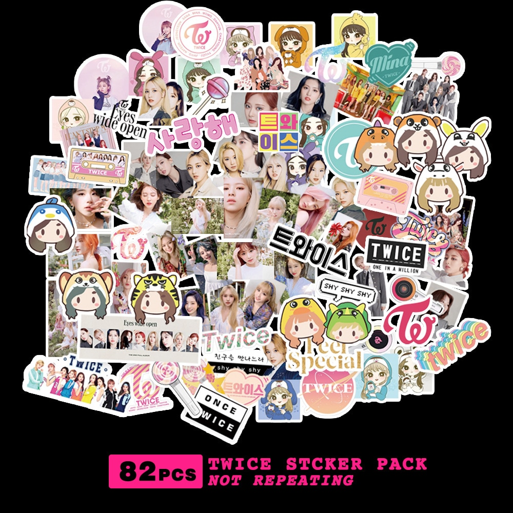 Kpop stray kids stickers TWICE TXT RED VELVET NCT 2020 127 TWICE Character Sticker For Luggage Laptop Notebook Mobile DIY 3