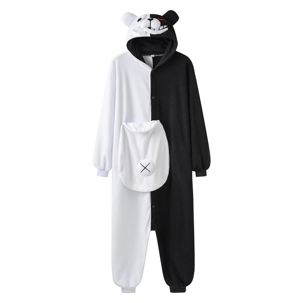 YESKIGU Monokuma Kigurumis Pajama Adult Onesie Anime Bear Jumpsuit Black White Animal Pajamas Women Halloween Party Suit Overall 1