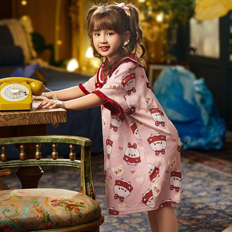 Summer Children Nightdress Sleepwear Soft LeisureWear Cartoon Cute Chick Printing Girls Nightgown Dressing Gown Dress Child 3