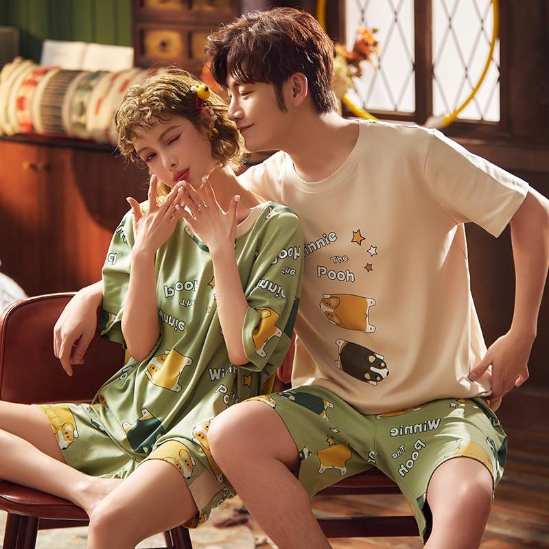 Cotton Short Couple Pajamas Set Summer Korean Sleepwear Pyjamas Women Cute Nightwear Lovers Pajamas Homewear Men Nightgowns 1