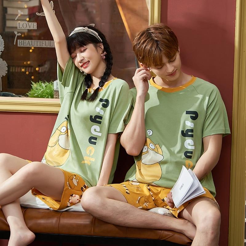 Couples Pajamas Women Men Summer Cotton Sleepwear Cartoon Pyjamas Printing Homewear Lovers Nightgowns Shorts Korean Pajama Sets 1