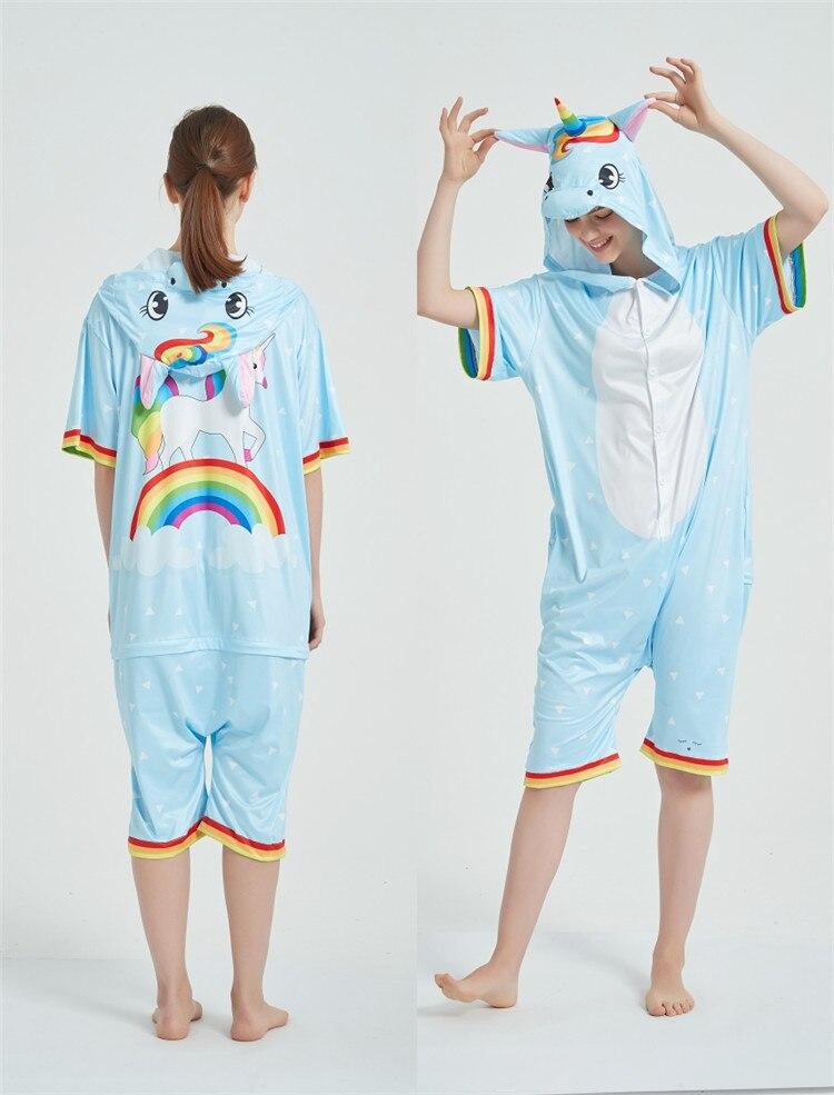 Rainbow Unicorn Kigurumis Women Onesie Cosplay Short Sleeve Animal Jumpsuits Pegasus Girl Pajama Funny Cute HomeWear Costume 8