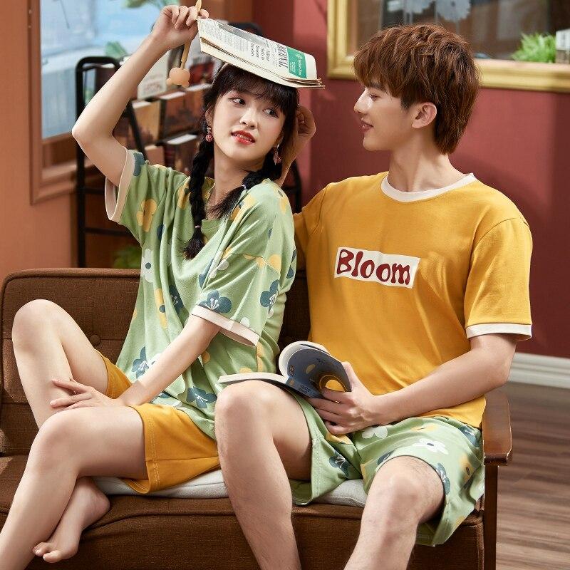 Summer Couples Pajamas Sleepwear Women Men Cotton Pyjamas Flower Printing Homewear Lovers Nightgowns Shorts Korean Pajama Sets 2
