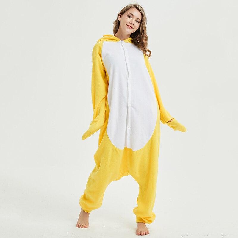 Yellow chick Animal Women Pajama Suit Sleepwear Homewear Adult Onesie Funny Polar Fleece Winter Pijamas Party Costume Plus Size 4