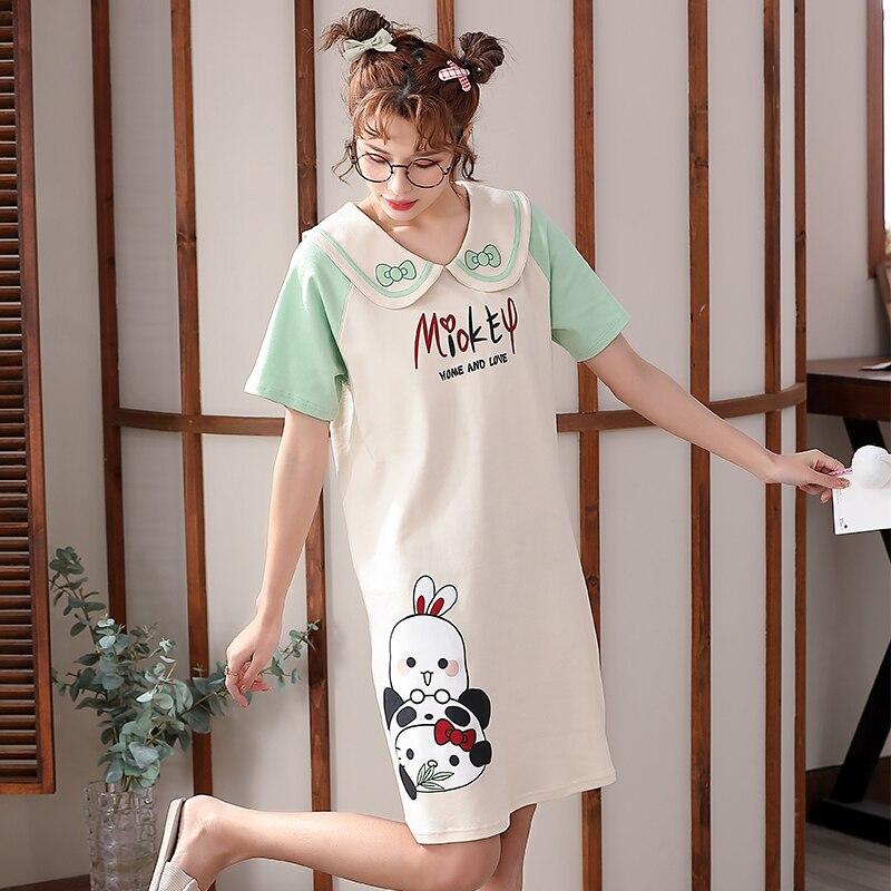 2021 New Women Nightgown Cartoon Panda Pattern Nightdress Sleepwear Girl Pajama Sets Homewear Korean Pijamas Female 2