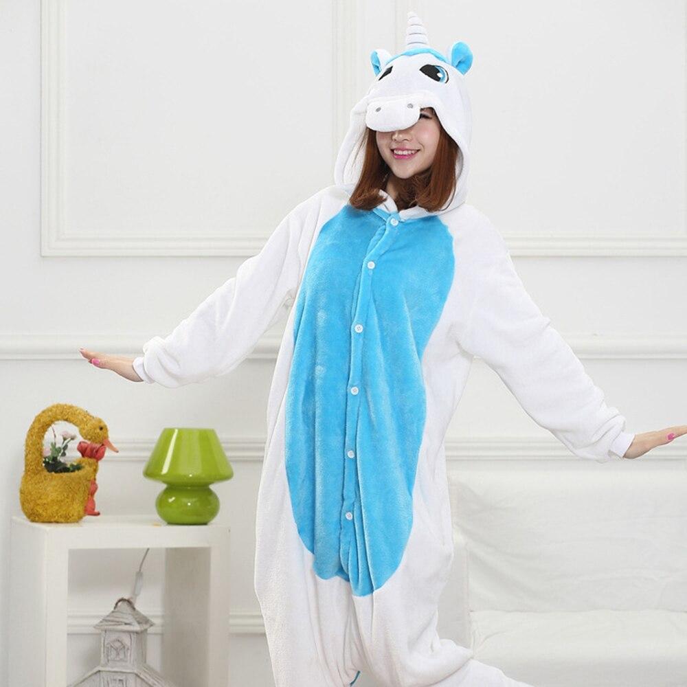 Blue White Unicorn Kigurumis Unisex Pajama Women Girl Adult Sleepwear Flannel Warm Home Jumpsuit Animal Funny Cute Onepiece Suit 2