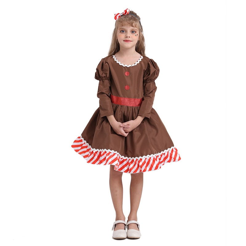 New Christmas 2020 Children Clothes Dress Gingerbread man Cosplay Kids Girls Festival Party Dresses One Piece Newyear Costume 1