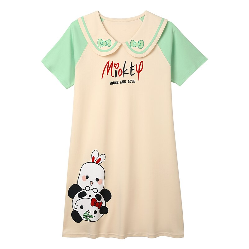 2021 New Women Nightgown Cartoon Panda Pattern Nightdress Sleepwear Girl Pajama Sets Homewear Korean Pijamas Female 5