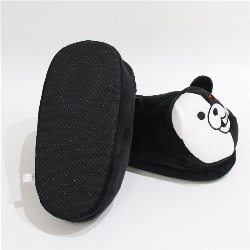 2021 Plush Slippers Women Men Monokuma Kigurumis Black White Anime Bear HomeShoes Cartoon Cute House Slipper 3