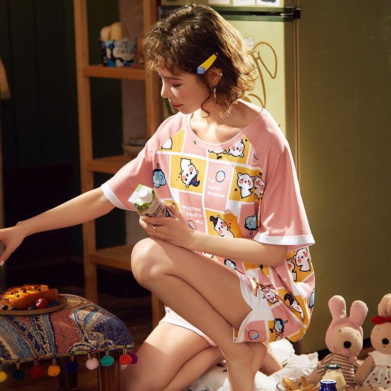 Korean Couple Pajamas Set Cartoon Cute Sleepwear Short Sleeve 2PCS Homewear Pyjamas Women Men Lovers Pajamas Nightgowns XXXL 4