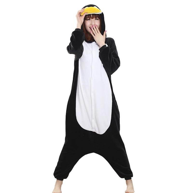 Winter Pajama Penguin Kigurumis Onesie Animal Black Funny Jumpsuit Women Girls Sleepwear Home Overalls Carnival Adult Outfit 4