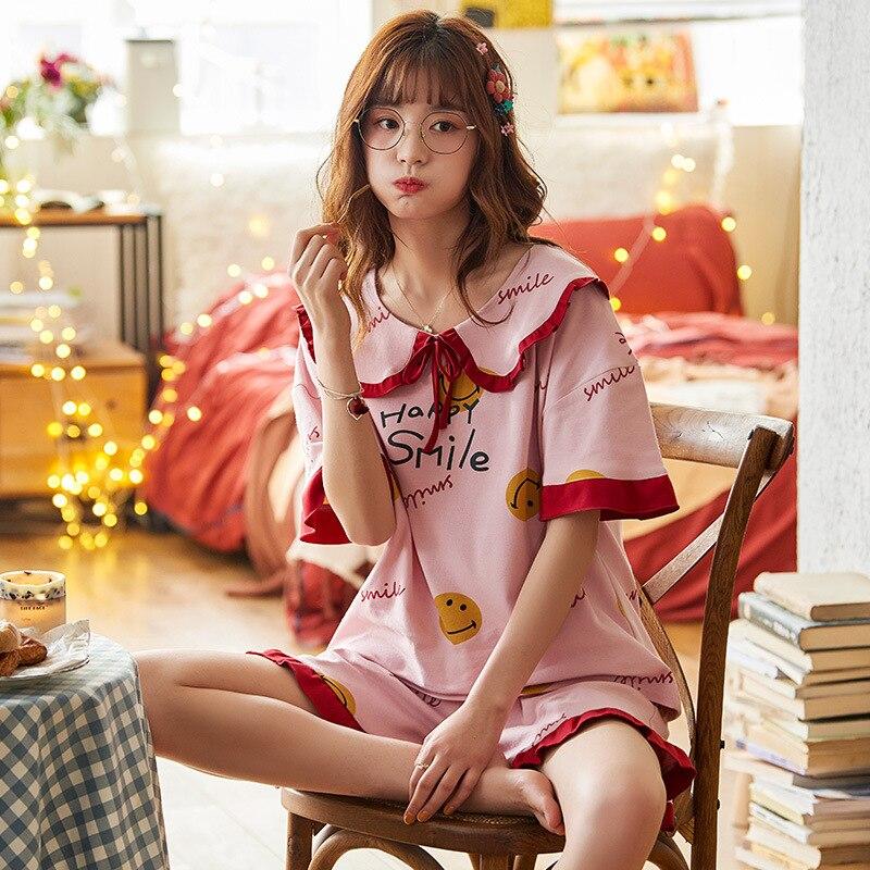 2PCS Women Pijama Casual Nightclothes Cotton Cartoon Pyjamas  Navy Collar Girl Sleepwear Home wear Pajama Shorts Femme Plus Size 1