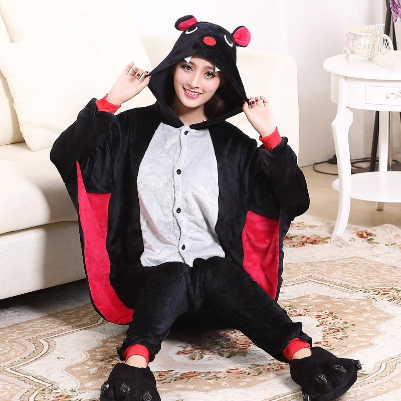 Funny Animal Onesie Bat Kigurumis Women Adult Girls Home Jumpsuit Cartoon Night Sleepwear Halloween Outfit Onepiece Party Suit 1
