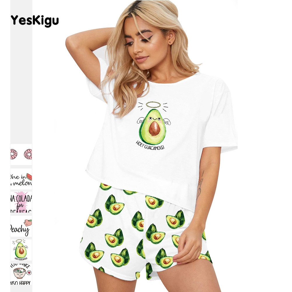 Avocad 3D Printed Sexy Silk Pijama Women Short Sleeves Top Summer Pyjamas Sleepwear Femme Nightgown Pajama Set Two-Piece Pajamas 1