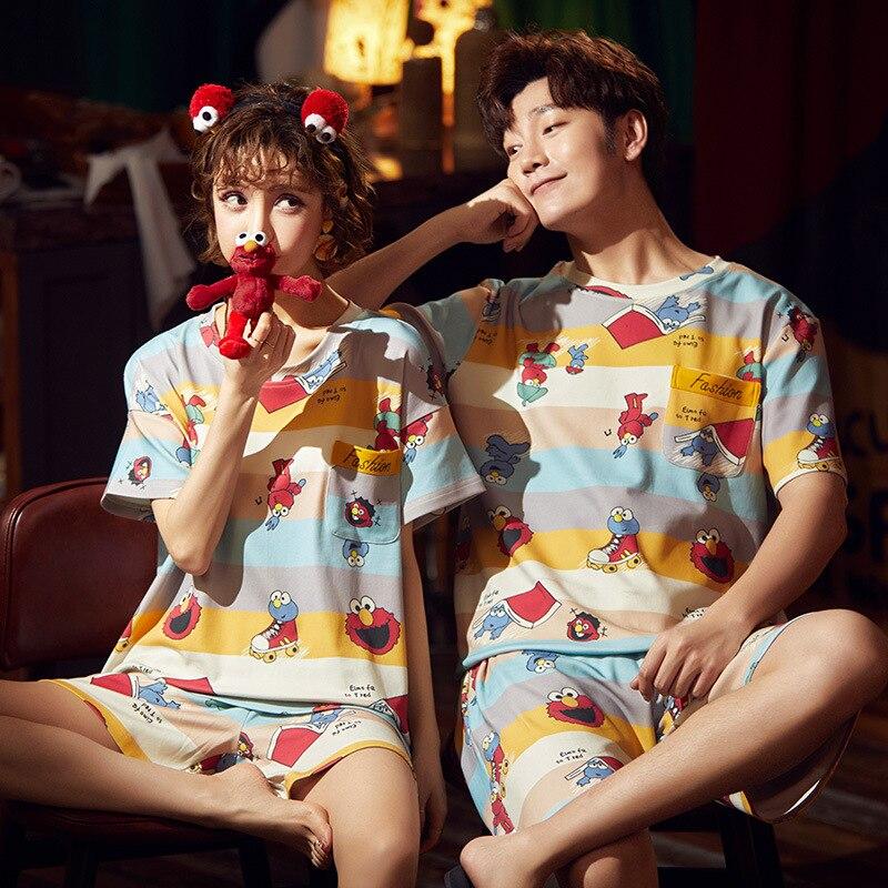 Cotton Couple Pajamas Set Short Sleeve Cartoon ELMO Pyjamas Summer Homewear Sleepwear Pijama Femme Nightgowns Nightwear XXXL 6