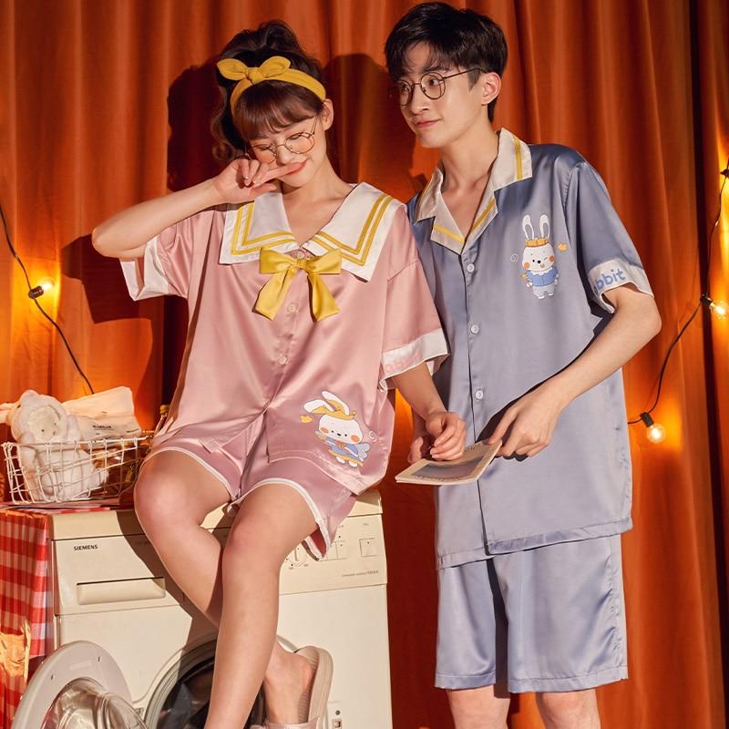 Summer Couples Pajamas Sets Women Men Sleepwear Pyjamas IceSilk Cute Rabbit Homewear Lovers SilkCloth Pijamas 4