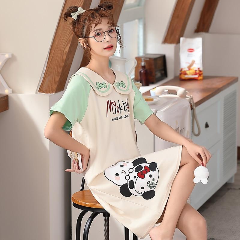 2021 New Women Nightgown Cartoon Panda Pattern Nightdress Sleepwear Girl Pajama Sets Homewear Korean Pijamas Female 1