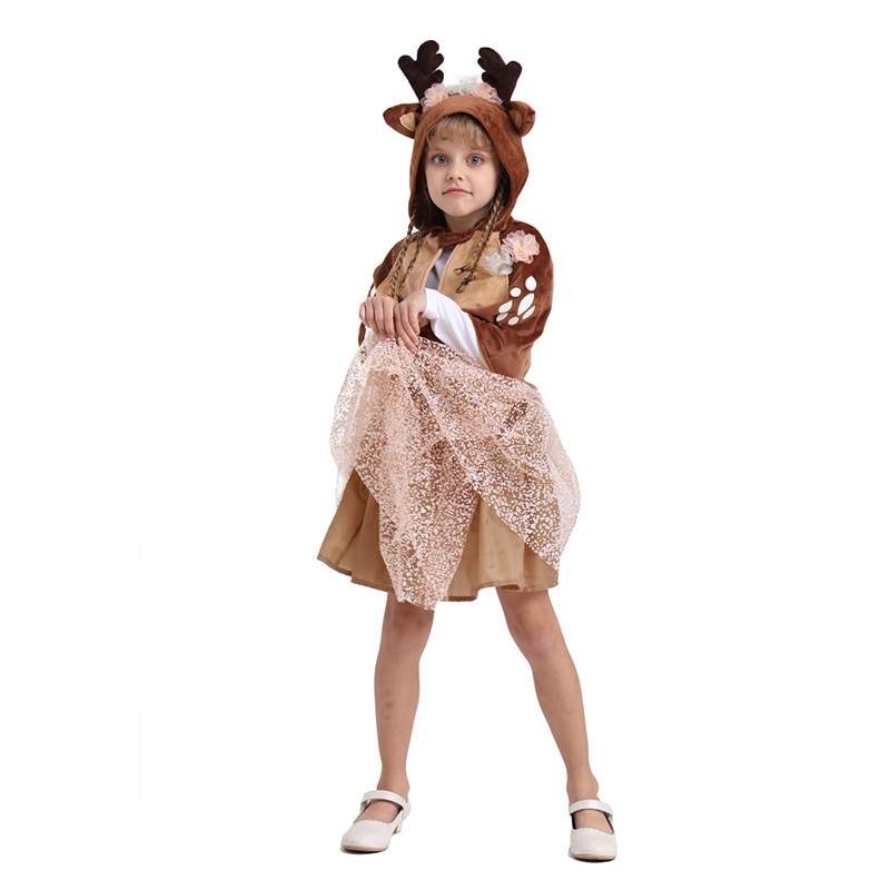 Christmas Clothes children elk Deer Dress Cosplay festival Kids Skirt Cute cartoon child cloak petticoatGirl party Tutu Skirts 1