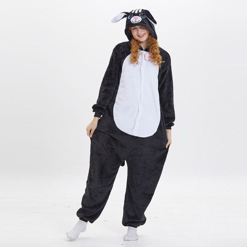Kigurumis Women Pajama Suit Onesie Black Cat Animal Homewear Adult Flannel Soft  Winter Pijamas Party Sleepwear Costume 3