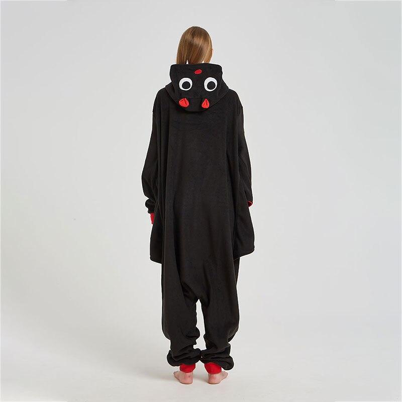 Black Bat Onesie Women Adult Animal Cartoon Kigurumis Polar Fleece Home Jumpsuit Funny Cute Overalls Girls Festival Pajama Suit 3