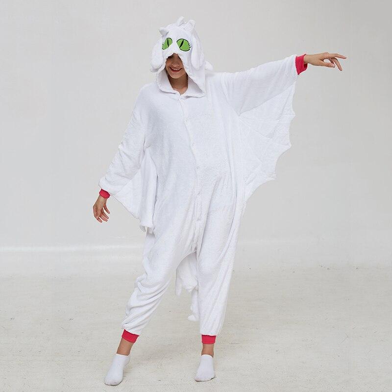 Animal Kigurumis Onesies Women Pajama Homewear Adult Cartoon Toothless Dragon Rompers Unisex Flannel Sleepwear Costume Apparel 4