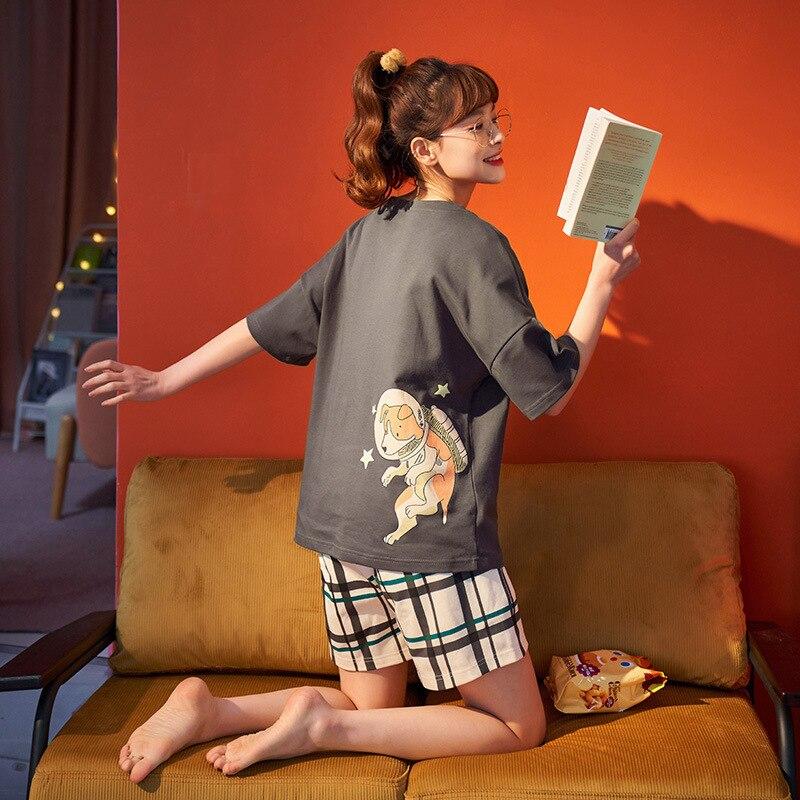 Couples Pajamas Set Women Men Cartoon Dog Printing Pyjamas Sleepwear Summer  LooseKorean Pijama Femme Nightgowns Plus Size 3